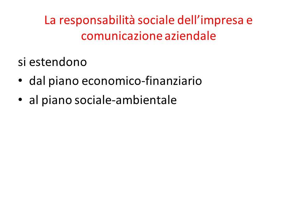 La responsabilità sociale dellimpresa e comunicazione aziendale si estendono dal piano economico-finanziario al piano sociale-ambientale