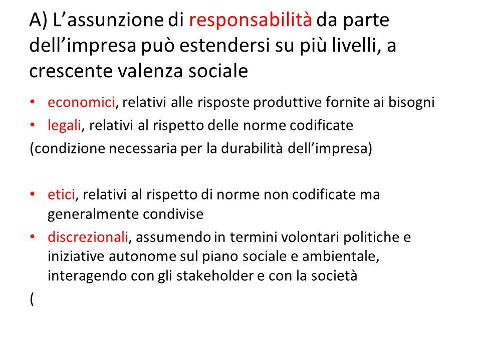 A) Lassunzione di responsabilità da parte dellimpresa può estendersi su più livelli, a crescente valenza sociale economici, relativi alle risposte pro