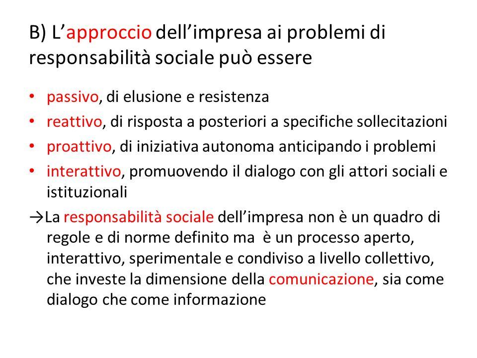 B) Lapproccio dellimpresa ai problemi di responsabilità sociale può essere passivo, di elusione e resistenza reattivo, di risposta a posteriori a spec