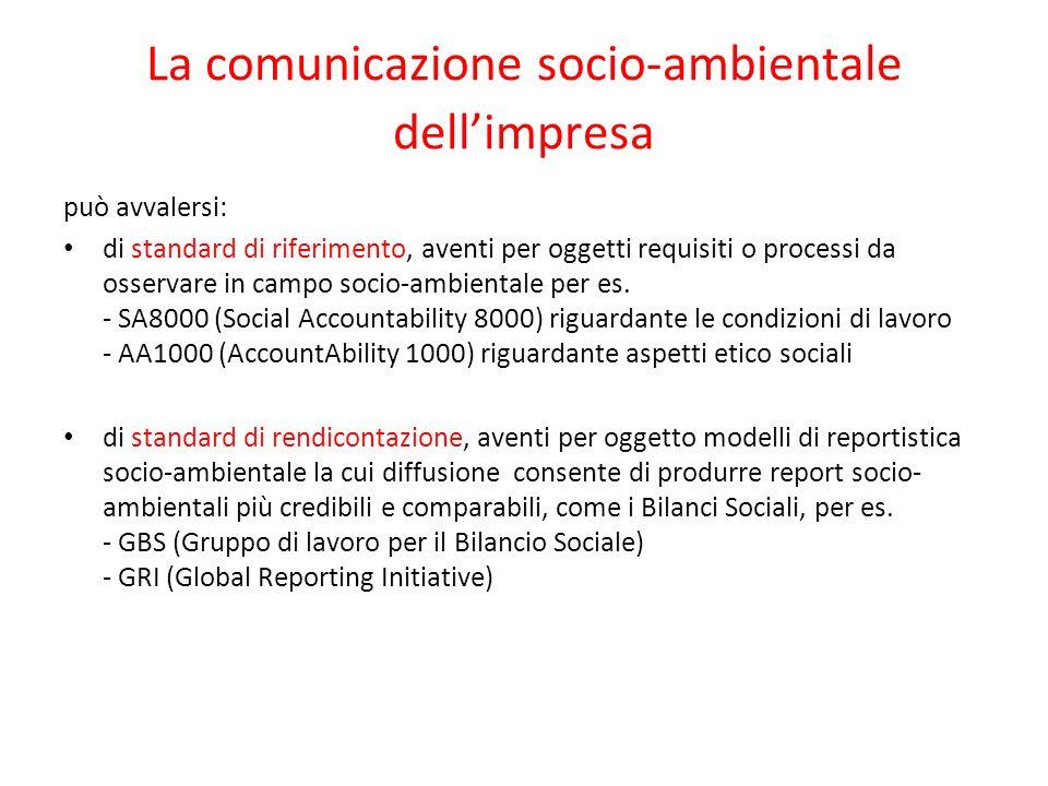 La comunicazione socio-ambientale dellimpresa può avvalersi: di standard di riferimento, aventi per oggetti requisiti o processi da osservare in campo