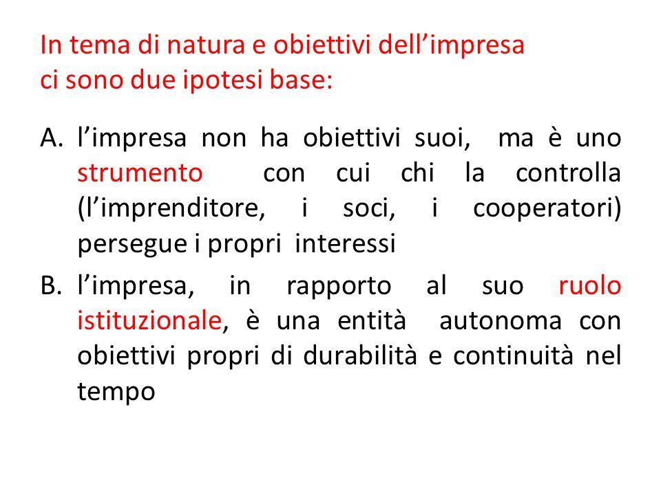 In tema di natura e obiettivi dellimpresa ci sono due ipotesi base: A.limpresa non ha obiettivi suoi, ma è uno strumento con cui chi la controlla (lim