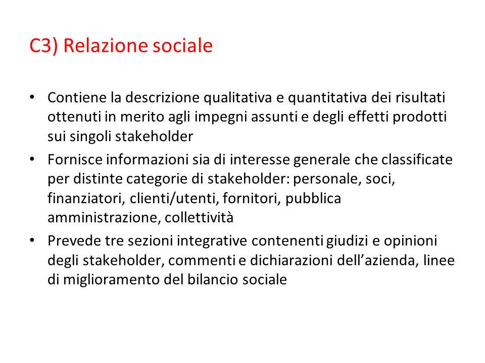 C3) Relazione sociale Contiene la descrizione qualitativa e quantitativa dei risultati ottenuti in merito agli impegni assunti e degli effetti prodott