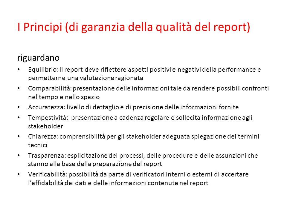 I Principi (di garanzia della qualità del report) riguardano Equilibrio: il report deve riflettere aspetti positivi e negativi della performance e per