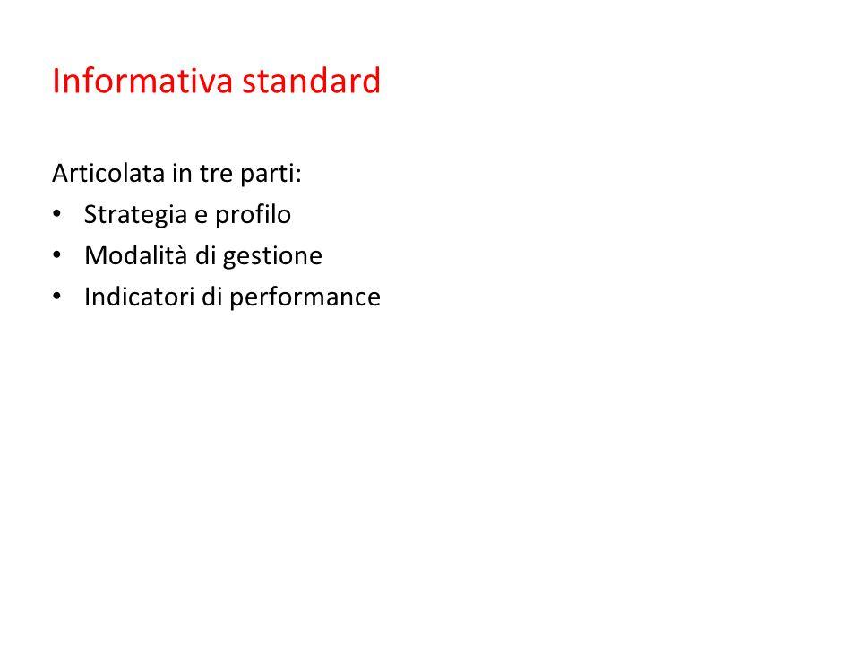 Informativa standard Articolata in tre parti: Strategia e profilo Modalità di gestione Indicatori di performance