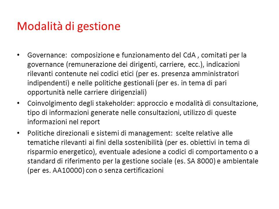 Modalità di gestione Governance: composizione e funzionamento del CdA, comitati per la governance (remunerazione dei dirigenti, carriere, ecc.), indic
