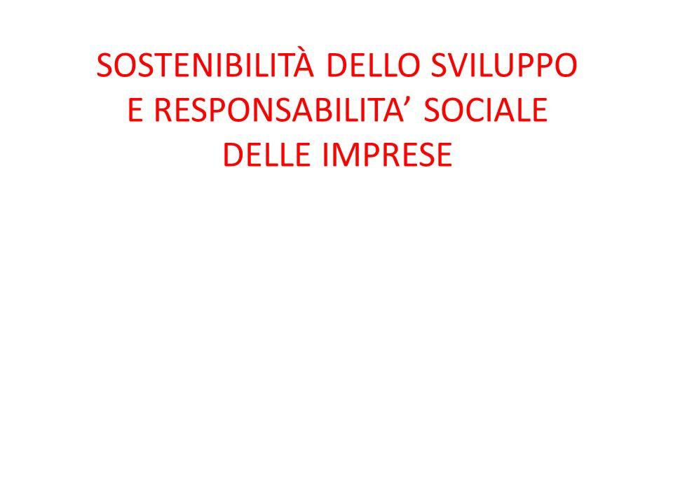 SOSTENIBILITÀ DELLO SVILUPPO E RESPONSABILITA SOCIALE DELLE IMPRESE