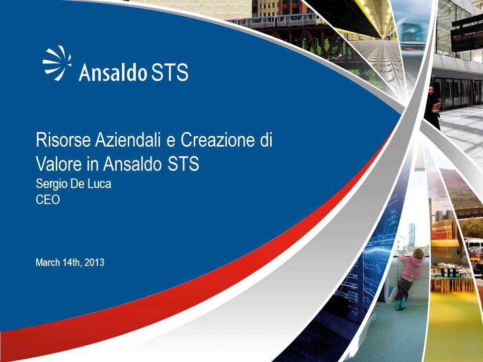 Risorse Aziendali e Creazione di Valore in Ansaldo STS Sergio De Luca CEO March 14th, 2013 STS