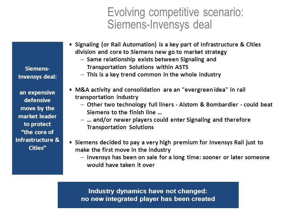 Evolving competitive scenario: Siemens-Invensys deal Signaling (or Rail Automation) is a key part of Infrastructure & Cities division and core to Siem