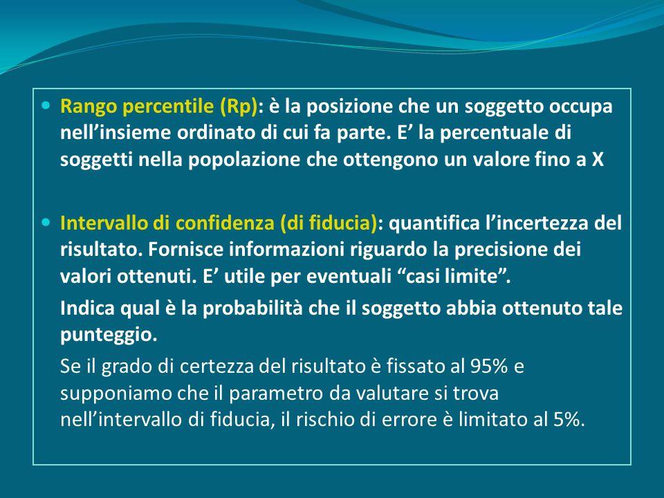Rango percentile (Rp): è la posizione che un soggetto occupa nellinsieme ordinato di cui fa parte.