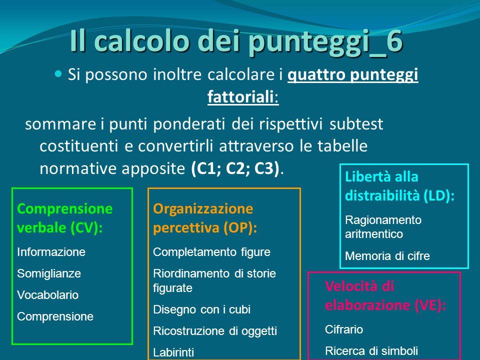 Il calcolo dei punteggi_6 Si possono inoltre calcolare i quattro punteggi fattoriali: sommare i punti ponderati dei rispettivi subtest costituenti e convertirli attraverso le tabelle normative apposite (C1; C2; C3).