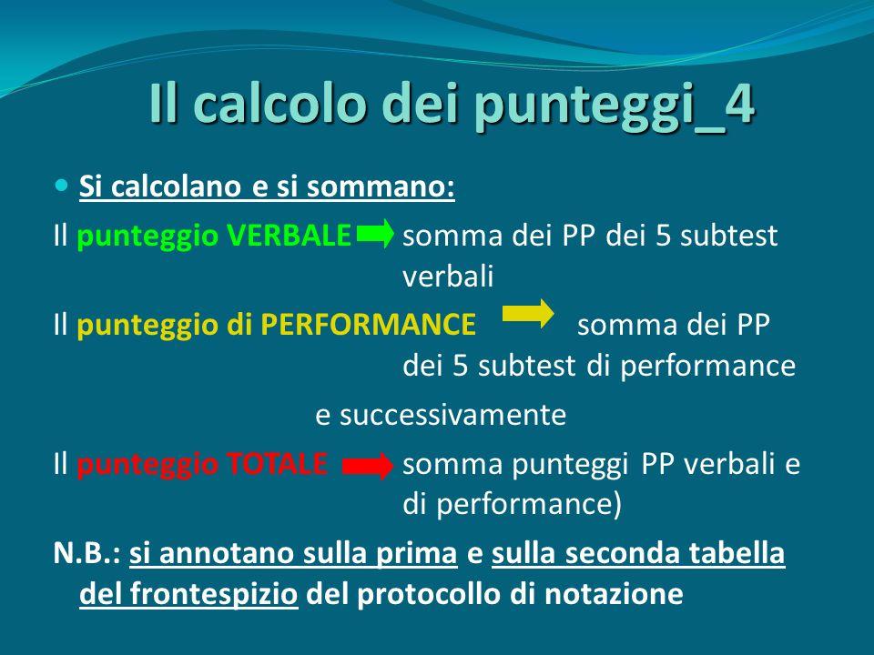 Il calcolo dei punteggi_4 Si calcolano e si sommano: Il punteggio VERBALEsomma dei PP dei 5 subtest verbali Il punteggio di PERFORMANCEsomma dei PP dei 5 subtest di performance e successivamente Il punteggio TOTALEsomma punteggi PP verbali e di performance) N.B.: si annotano sulla prima e sulla seconda tabella del frontespizio del protocollo di notazione