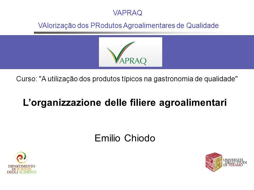 Lorganizzazione delle filiere agroalimentari Emilio Chiodo VAPRAQ VAlorização dos PRodutos Agroalimentares de Qualidade Curso: