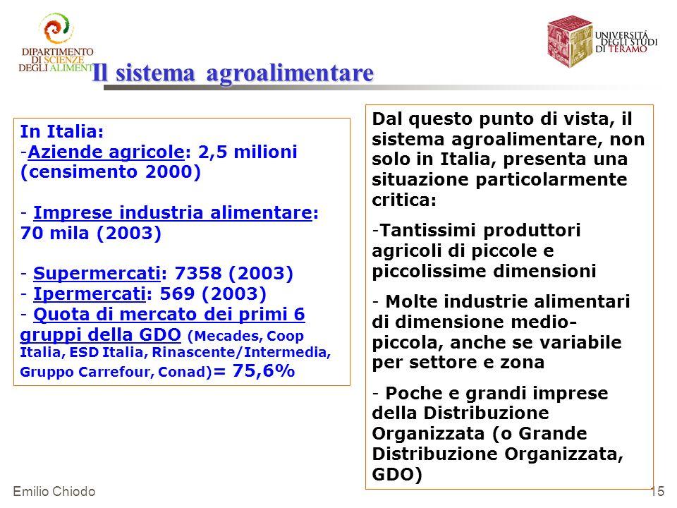Emilio Chiodo 15 Dal questo punto di vista, il sistema agroalimentare, non solo in Italia, presenta una situazione particolarmente critica: - -Tantiss