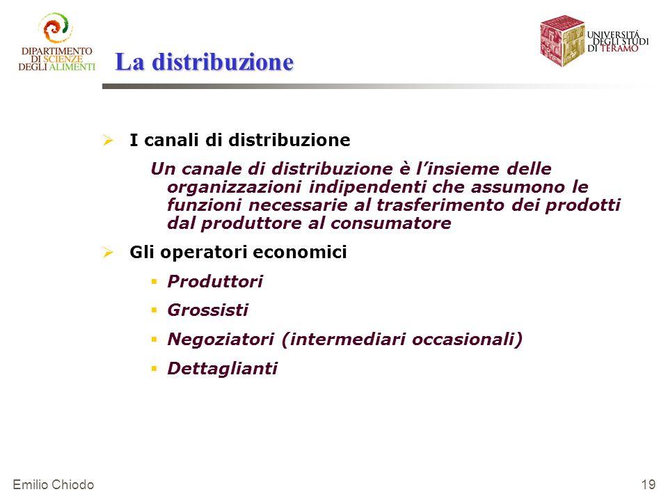 Emilio Chiodo 19 La distribuzione I canali di distribuzione Un canale di distribuzione è linsieme delle organizzazioni indipendenti che assumono le fu