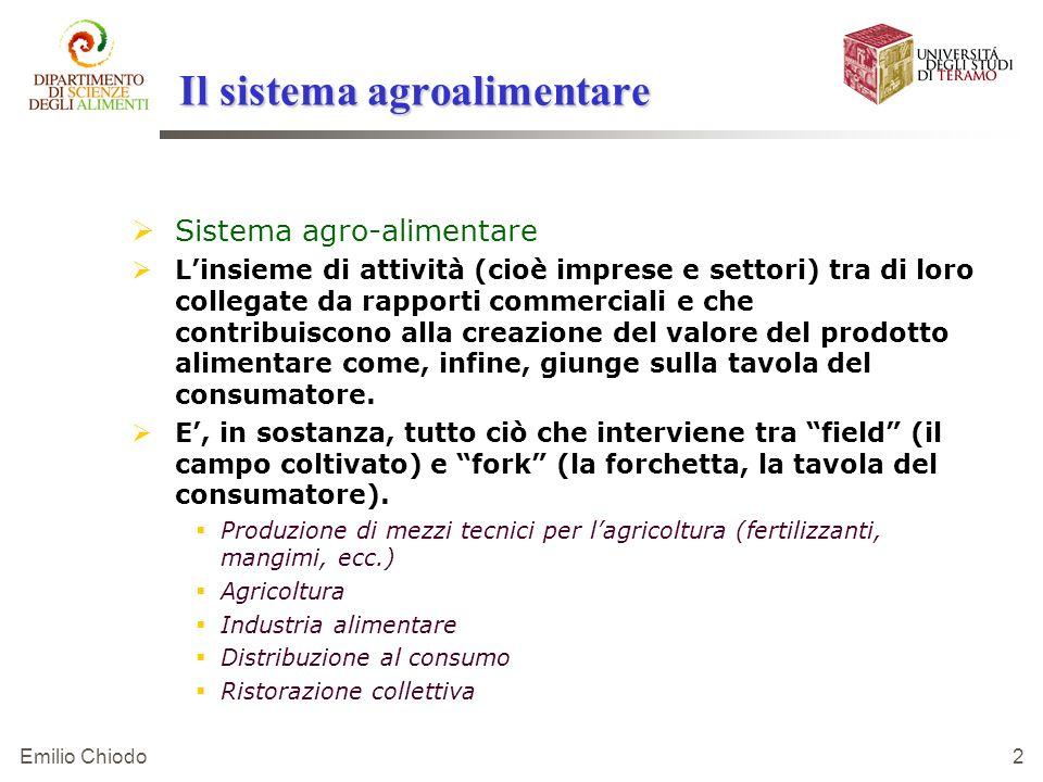 Emilio Chiodo 2 Il sistema agroalimentare Sistema agro-alimentare Linsieme di attività (cioè imprese e settori) tra di loro collegate da rapporti comm