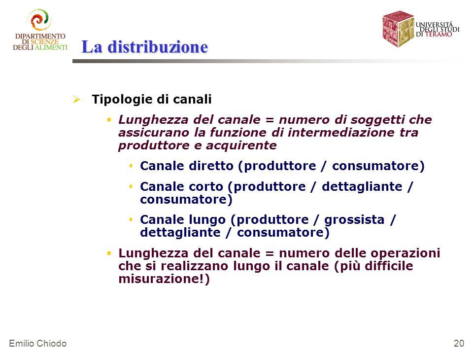 Emilio Chiodo 20 La distribuzione Tipologie di canali Lunghezza del canale = numero di soggetti che assicurano la funzione di intermediazione tra prod
