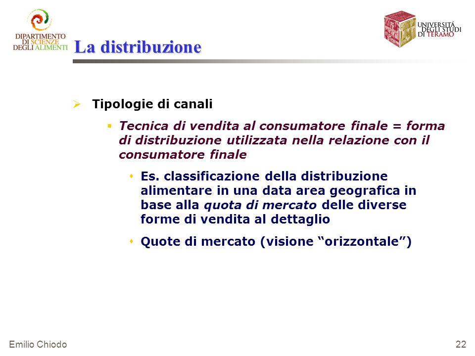 Emilio Chiodo 22 La distribuzione Tipologie di canali Tecnica di vendita al consumatore finale = forma di distribuzione utilizzata nella relazione con