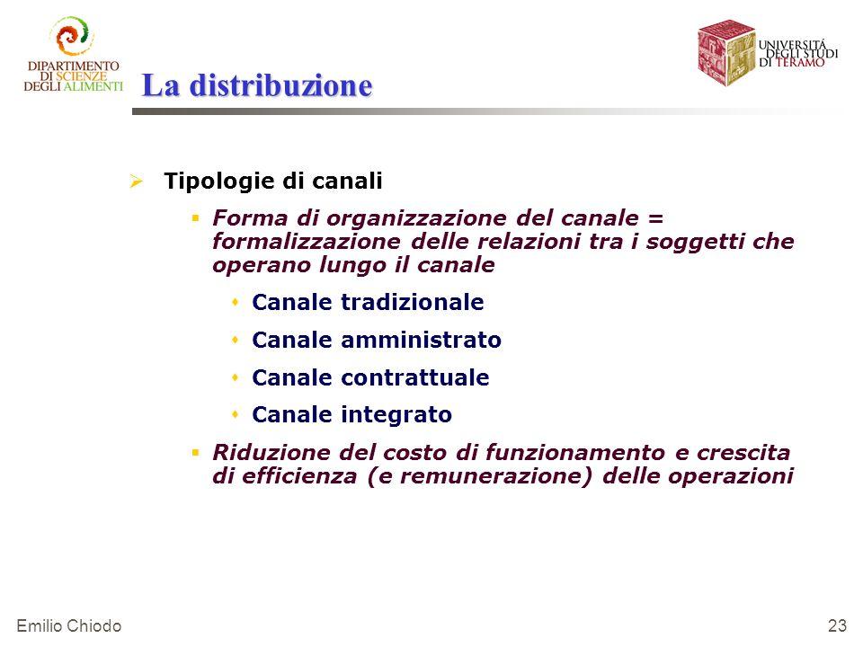 Emilio Chiodo 23 La distribuzione Tipologie di canali Forma di organizzazione del canale = formalizzazione delle relazioni tra i soggetti che operano