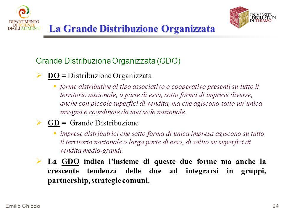 Emilio Chiodo 24 La Grande Distribuzione Organizzata Grande Distribuzione Organizzata (GDO) DO = Distribuzione Organizzata forme distributive di tipo