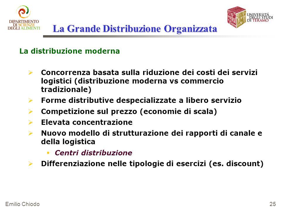 Emilio Chiodo 25 La Grande Distribuzione Organizzata La distribuzione moderna Concorrenza basata sulla riduzione dei costi dei servizi logistici (dist