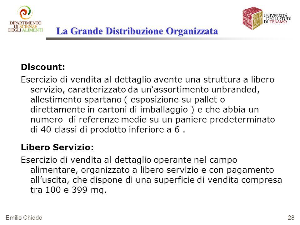 Emilio Chiodo 28 Discount: Esercizio di vendita al dettaglio avente una struttura a libero servizio, caratterizzato da unassortimento unbranded, alles