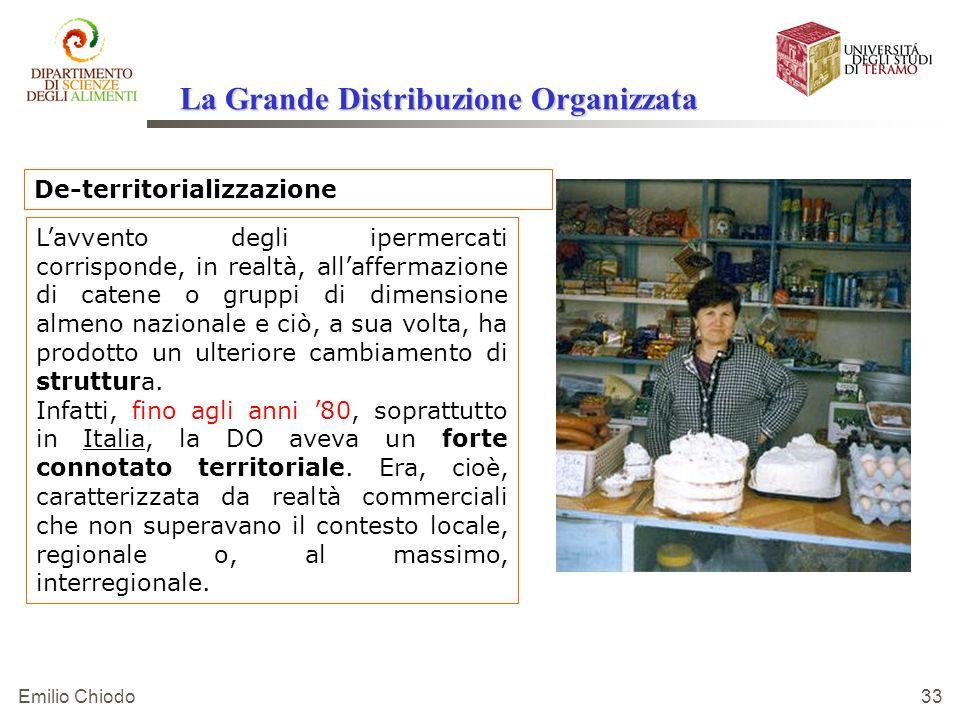 Emilio Chiodo 33 De-territorializzazione Lavvento degli ipermercati corrisponde, in realtà, allaffermazione di catene o gruppi di dimensione almeno na