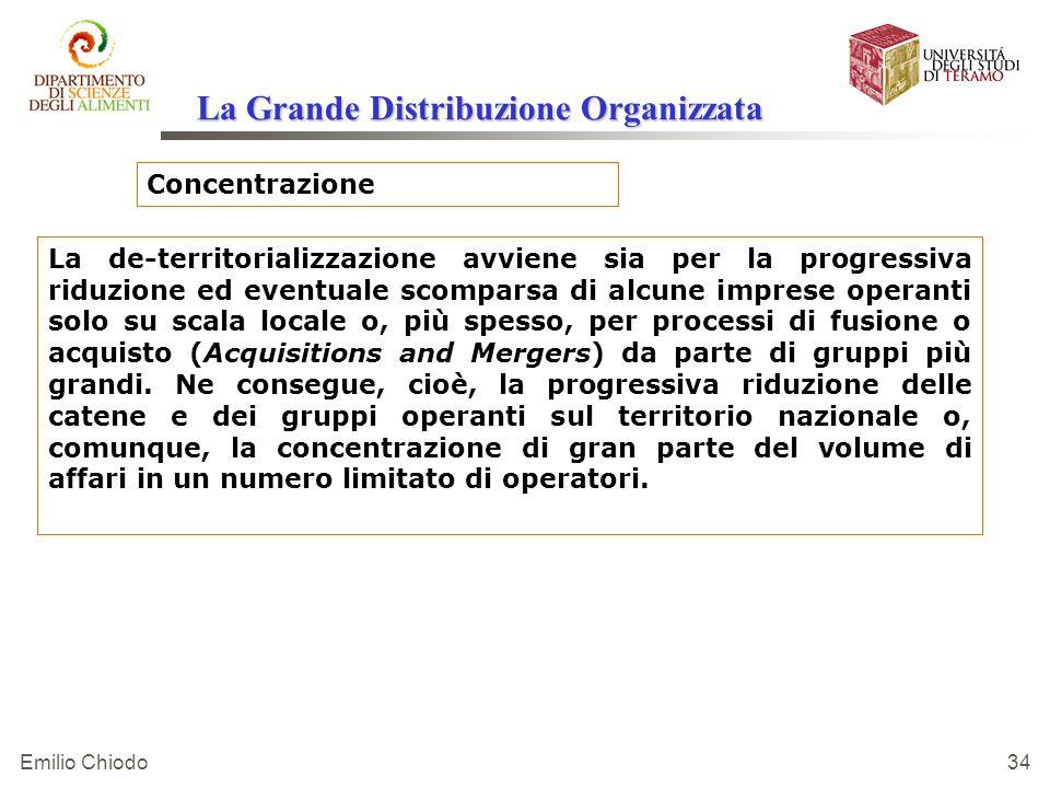Emilio Chiodo 34 Concentrazione La de-territorializzazione avviene sia per la progressiva riduzione ed eventuale scomparsa di alcune imprese operanti