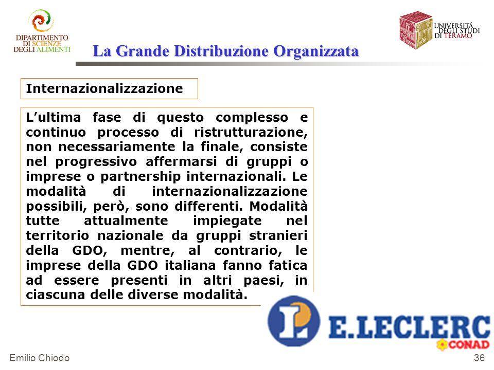 Emilio Chiodo 36 Internazionalizzazione Lultima fase di questo complesso e continuo processo di ristrutturazione, non necessariamente la finale, consi