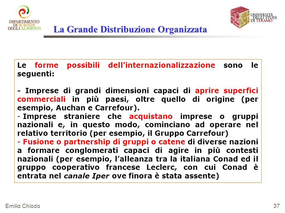 Emilio Chiodo 37 Le forme possibili dellinternazionalizzazione sono le seguenti: - Imprese di grandi dimensioni capaci di aprire superfici commerciali