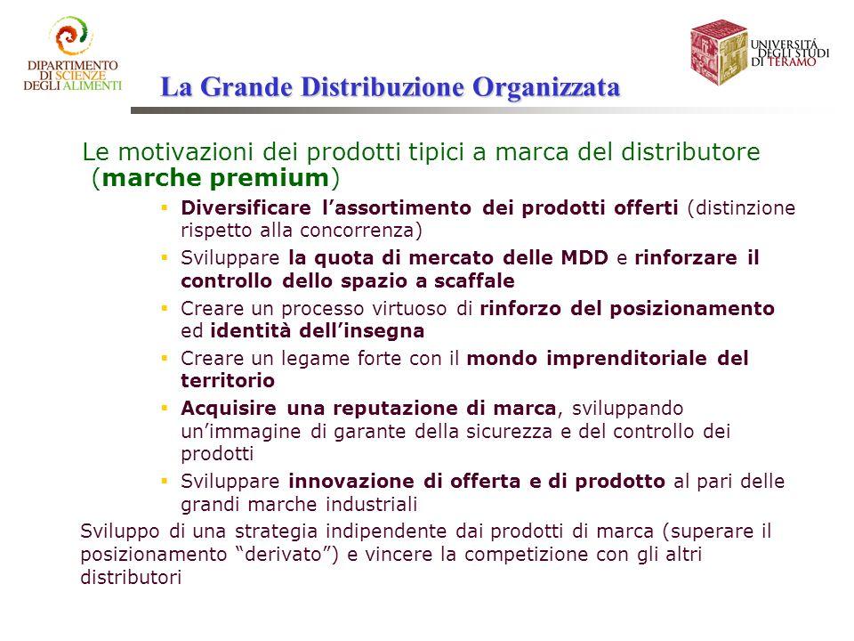 Le motivazioni dei prodotti tipici a marca del distributore (marche premium) Diversificare lassortimento dei prodotti offerti (distinzione rispetto al
