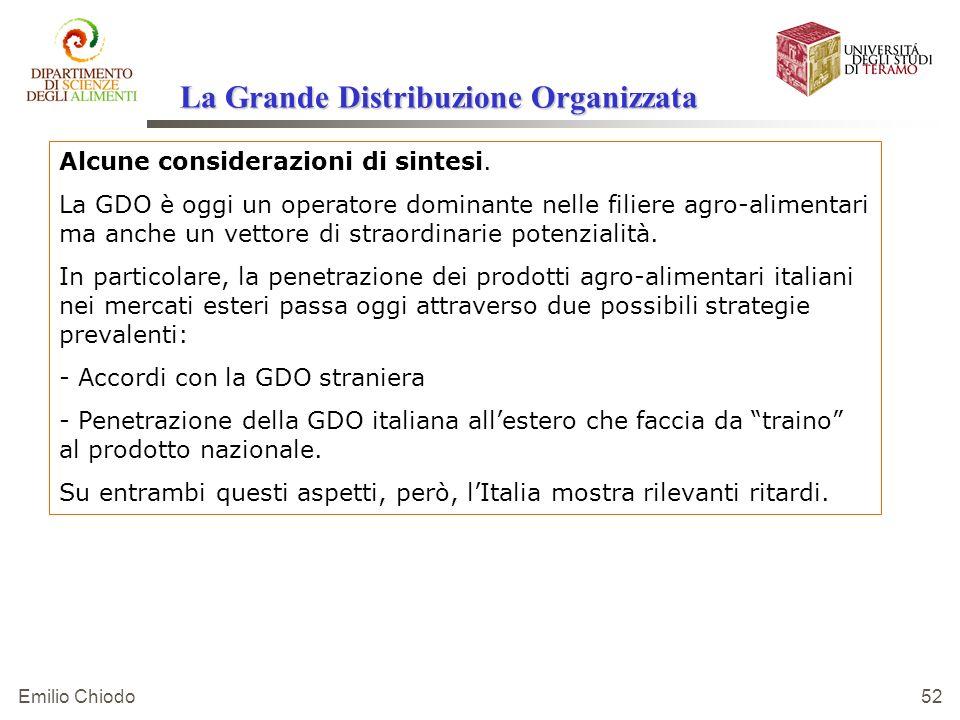 Emilio Chiodo 52 Alcune considerazioni di sintesi. La GDO è oggi un operatore dominante nelle filiere agro-alimentari ma anche un vettore di straordin