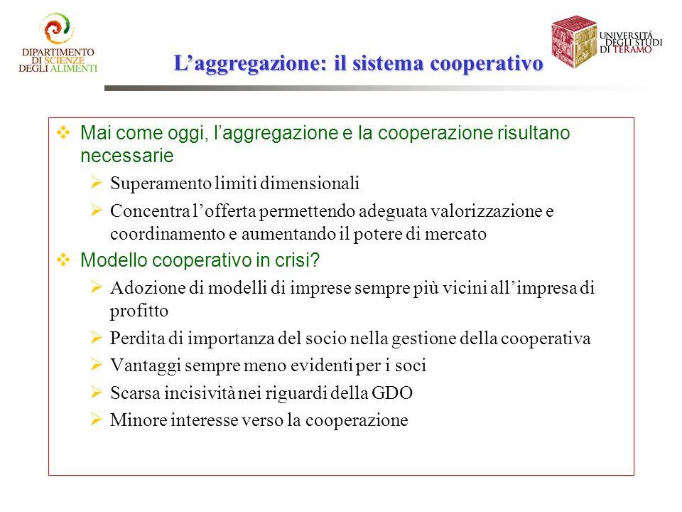 Laggregazione: il sistema cooperativo Mai come oggi, laggregazione e la cooperazione risultano necessarie Superamento limiti dimensionali Concentra lo