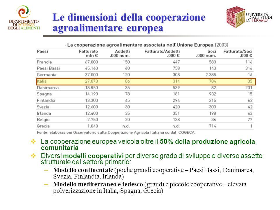 Le dimensioni della cooperazione agroalimentare europea La cooperazione europea veicola oltre il 50% della produzione agricola comunitaria Diversi mod