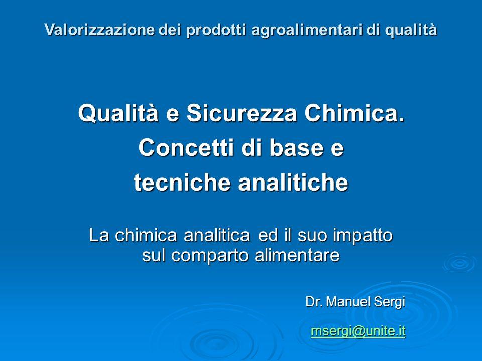Valorizzazione dei prodotti agroalimentari di qualità Qualità e Sicurezza Chimica. Concetti di base e tecniche analitiche La chimica analitica ed il s