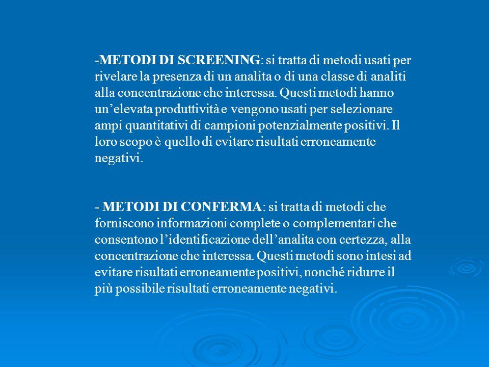 -METODI DI SCREENING: si tratta di metodi usati per rivelare la presenza di un analita o di una classe di analiti alla concentrazione che interessa. Q