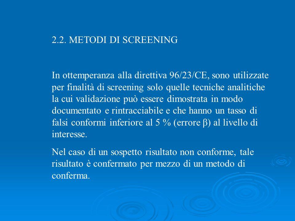 2.2. METODI DI SCREENING In ottemperanza alla direttiva 96/23/CE, sono utilizzate per finalità di screening solo quelle tecniche analitiche la cui val