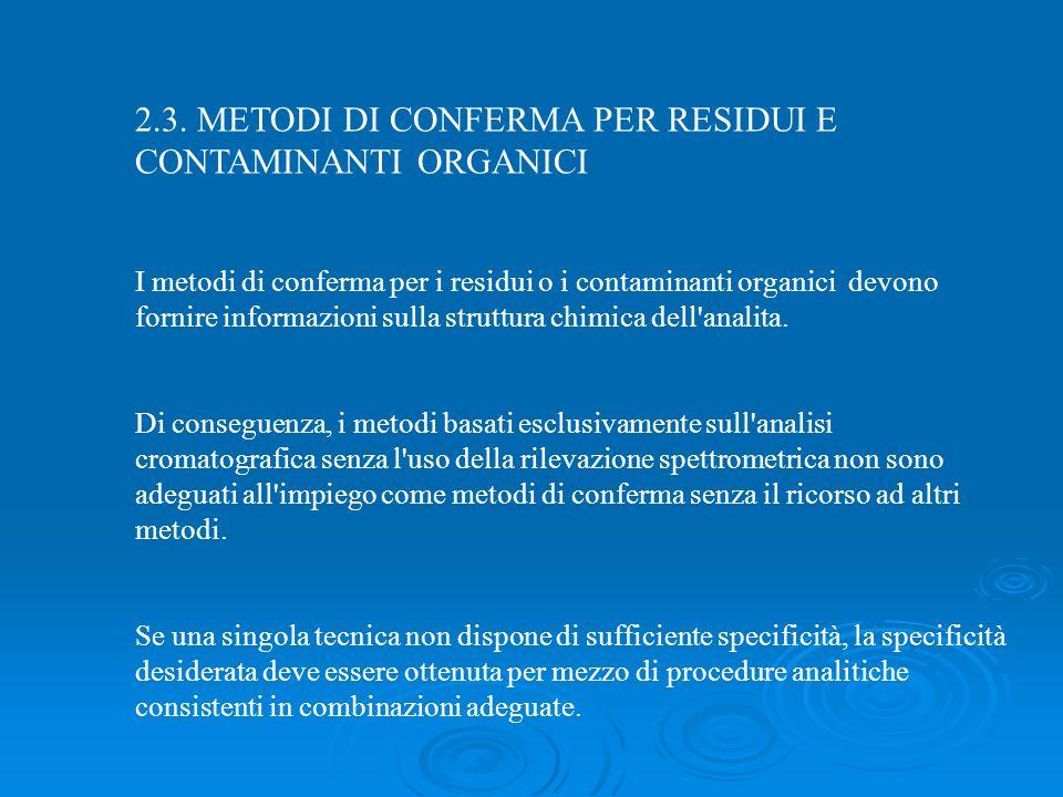 2.3. METODI DI CONFERMA PER RESIDUI E CONTAMINANTI ORGANICI I metodi di conferma per i residui o i contaminanti organici devono fornire informazioni s