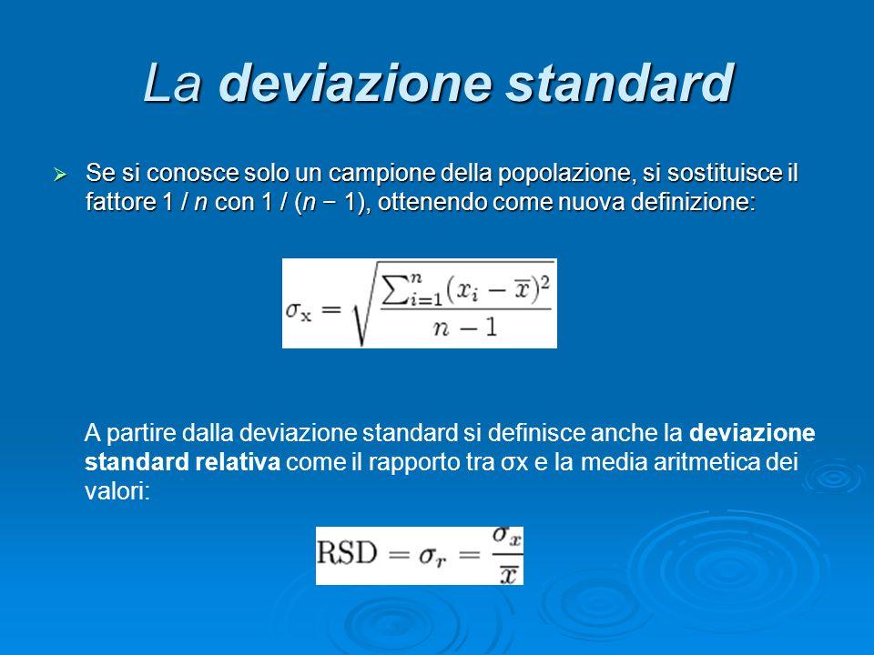 La deviazione standard Se si conosce solo un campione della popolazione, si sostituisce il fattore 1 / n con 1 / (n 1), ottenendo come nuova definizio