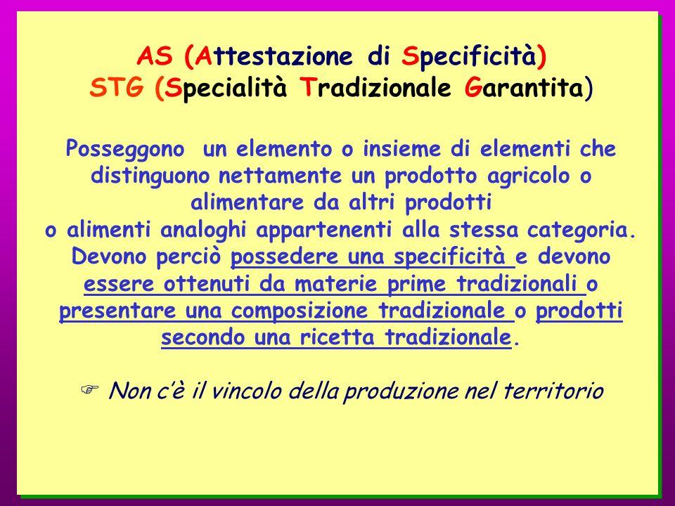 AS (Attestazione di Specificità) STG (Specialità Tradizionale Garantita) Posseggono un elemento o insieme di elementi che distinguono nettamente un pr