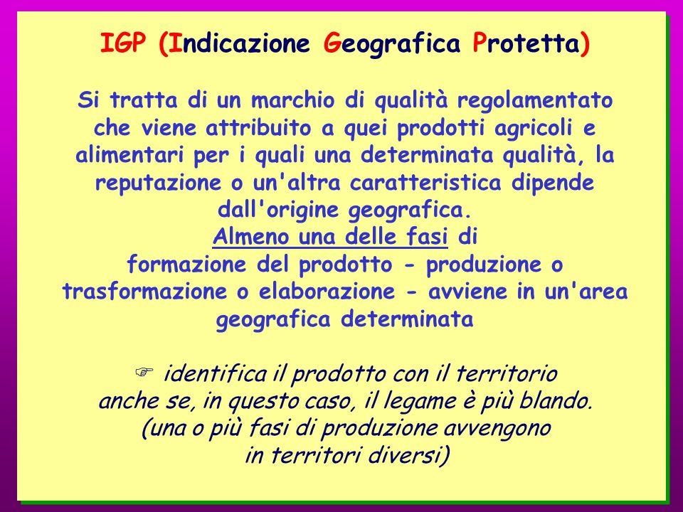 IGP (Indicazione Geografica Protetta) Si tratta di un marchio di qualità regolamentato che viene attribuito a quei prodotti agricoli e alimentari per i quali una determinata qualità, la reputazione o un altra caratteristica dipende dall origine geografica.