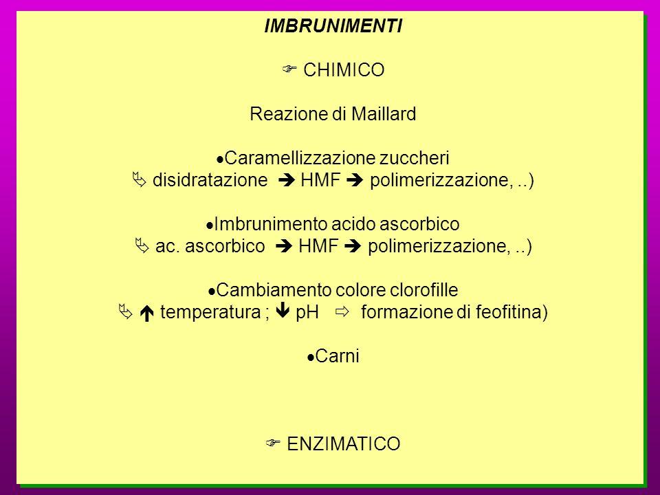 IMBRUNIMENTI CHIMICO Reazione di Maillard Caramellizzazione zuccheri disidratazione HMF polimerizzazione,..) Imbrunimento acido ascorbico ac. ascorbic