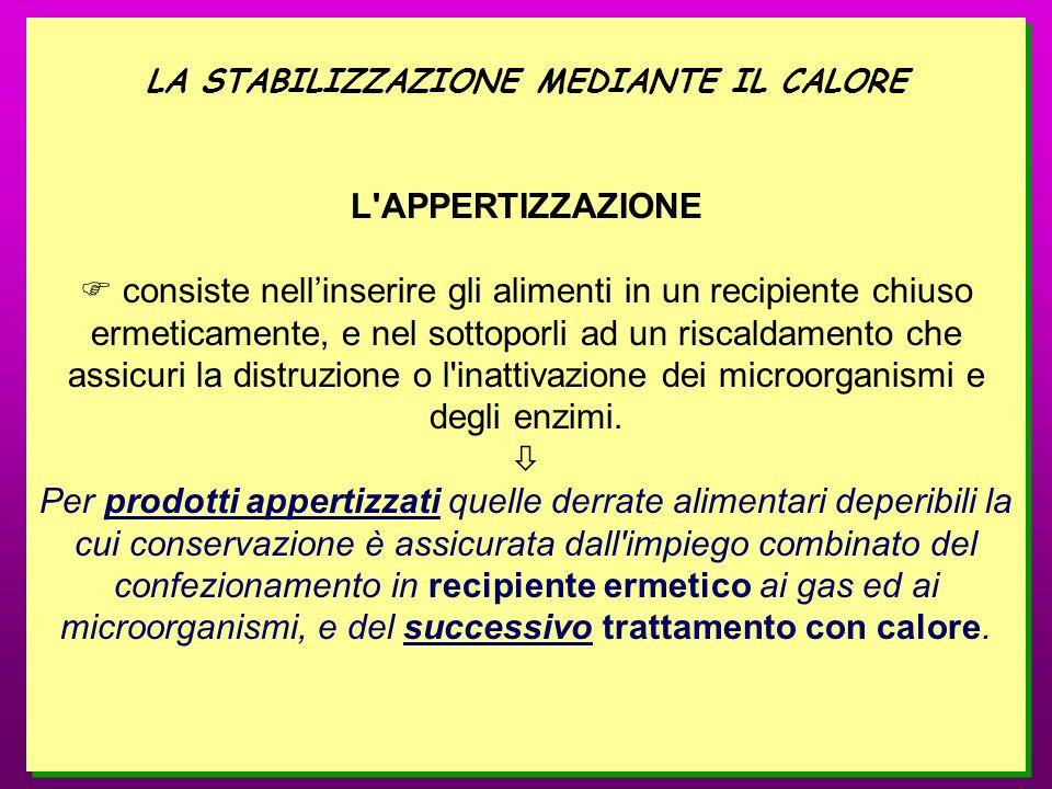 LA STABILIZZAZIONE MEDIANTE IL CALORE L'APPERTIZZAZIONE consiste nellinserire gli alimenti in un recipiente chiuso ermeticamente, e nel sottoporli ad