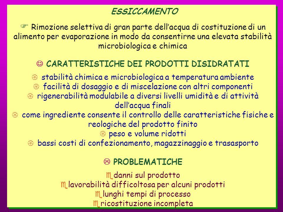 ESSICCAMENTO Rimozione selettiva di gran parte dellacqua di costituzione di un alimento per evaporazione in modo da consentirne una elevata stabilità