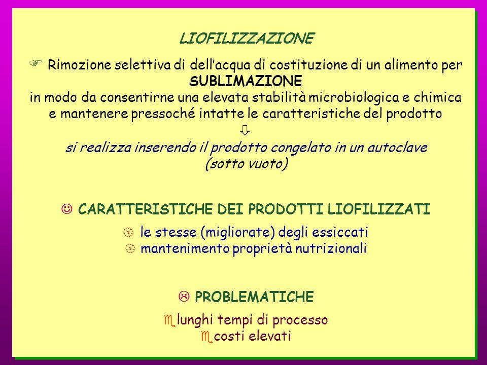 LIOFILIZZAZIONE Rimozione selettiva di dellacqua di costituzione di un alimento per SUBLIMAZIONE in modo da consentirne una elevata stabilità microbio