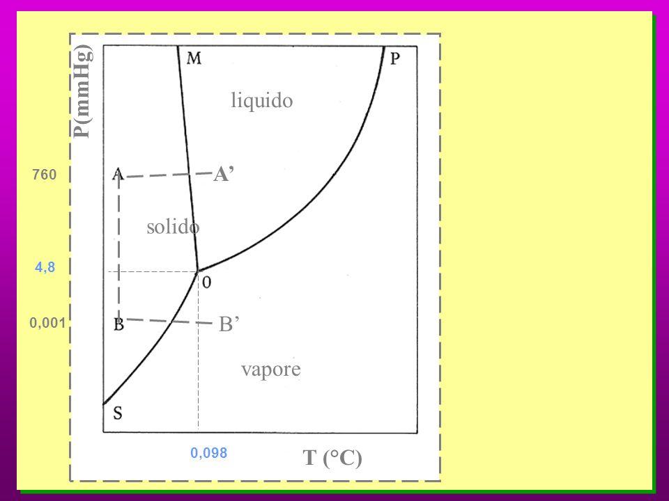 P(mmHg) T (°C) liquido solido vapore A B 760 0,001 4,8 0,098