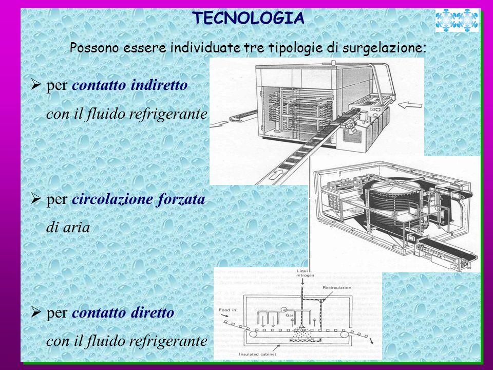 TECNOLOGIA Possono essere individuate tre tipologie di surgelazione : per contatto indiretto con il fluido refrigerante per circolazione forzata di ar