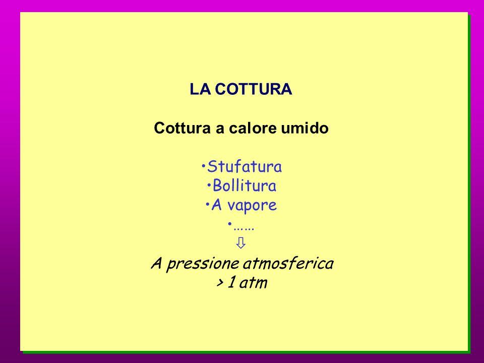 LA COTTURA Cottura a calore umido Stufatura Bollitura A vapore …… A pressione atmosferica > 1 atm