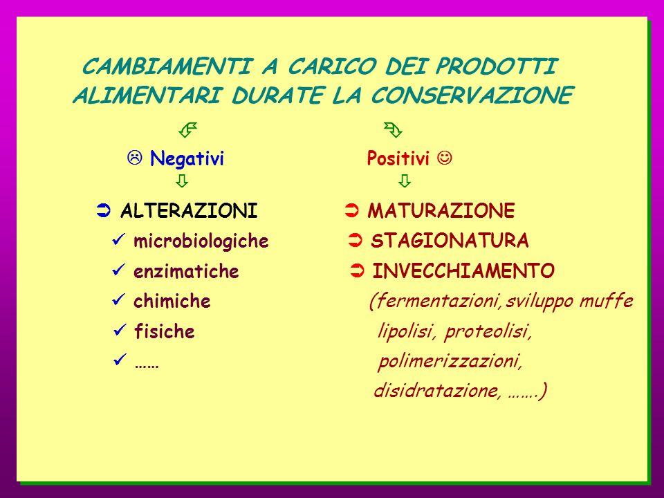 CAMBIAMENTI A CARICO DEI PRODOTTI ALIMENTARI DURATE LA CONSERVAZIONE Negativi Positivi ALTERAZIONI MATURAZIONE microbiologiche STAGIONATURA enzimatich