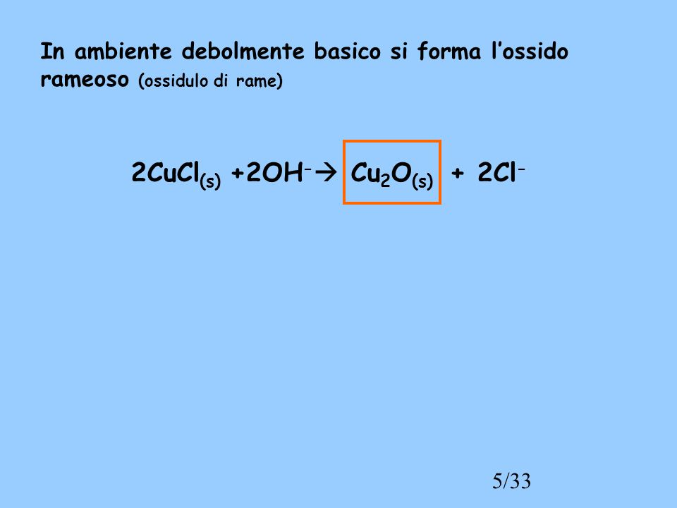 5/33 In ambiente debolmente basico si forma lossido rameoso (ossidulo di rame) 2CuCl (s) +2OH - Cu 2 O (s) + 2Cl -