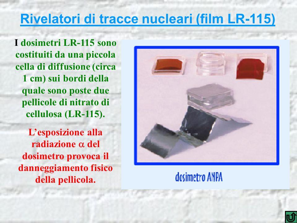 Rivelatori di tracce nucleari (film LR-115) I dosimetri LR-115 sono costituiti da una piccola cella di diffusione (circa 1 cm) sui bordi della quale sono poste due pellicole di nitrato di cellulosa (LR-115).
